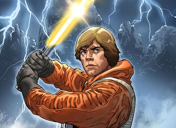 Drawing of Luke Skywalker in an orange fly suit holding a yellow lightsaber over his head