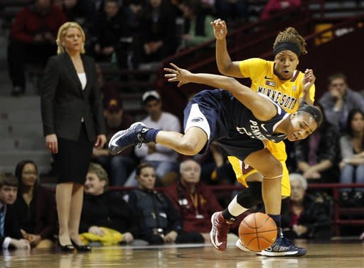 Penn State guard Ariel Edwards (23) fights for the ball against Minnesota guard Leah Cotton in the first half of an NCAA college basketball game on Thursday, Feb. 28, 2013, in Minneapolis. (AP Photo/Stacy Bengs)
