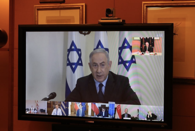 Pictured is Israeli Prime Minister Benjamin Netanyahu addresses the club via a virtual discussion.