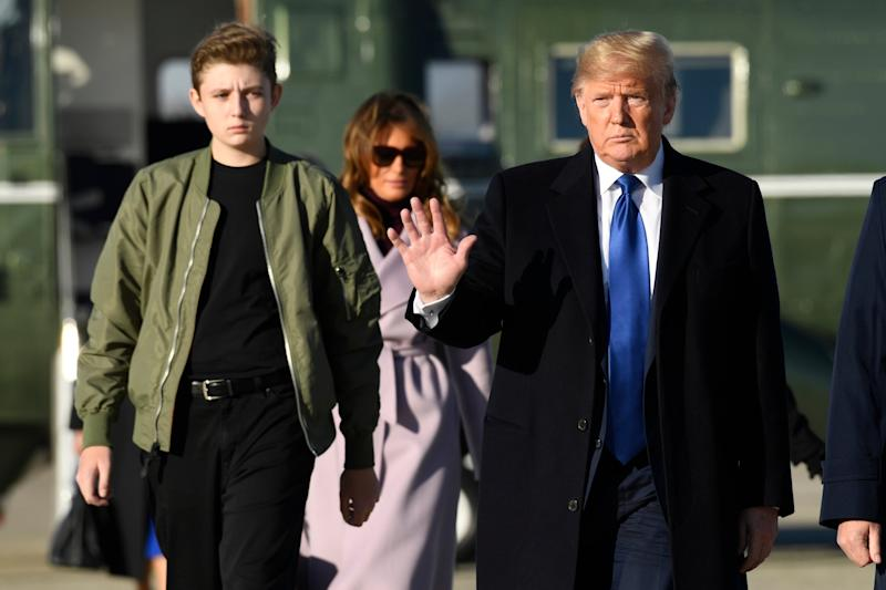 Donald Trump with first lady Melania and their son Barron at Andrews Air Force base in Maryland on their way to Mar-a-Lago in Florida: AP