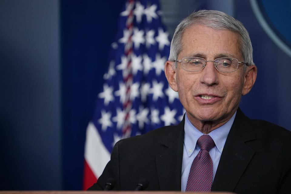 Dr. Anthony Fauci is not confident about football being played in the fall. (Photo by MANDEL NGAN / AFP) (Photo by MANDEL NGAN/AFP via Getty Images)