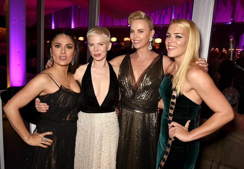 <p>Hello, gorgeous — times four! These powerwomen caught up at the Vanity Fair celebration and photogs couldn't get enough of the glam. (Photo: Dave M. Benett/VF17/WireImage) </p>