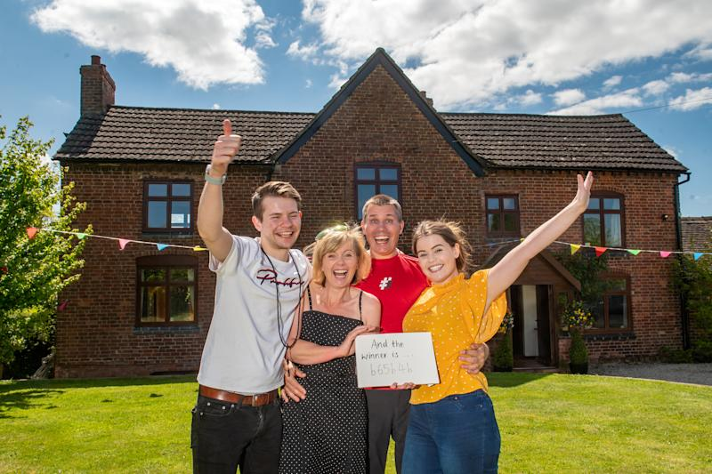 """GV of Grafton Farm, Shropshire, that has been raffled off. See SWNS story SWMDraffle. The prize draw, for Nigel and Jane Chaloner's six-bedroom home at Grafton Farm – set in approximately three acres of land in Loppington, near Wem – will be held today Thursday 14 May 2020. Mr and Mrs Chaloner are donating £120,000 from the proceeds of the draw to The Severn Hospice. The home was valued at £650,000. They sold their full allocation of tickets for the house - 550,000 at £2 each, raising £1.1m in total. Mrs Chaloner said that the family had been """"bowled over by the positive response and generosity of spirit of everyone who has entered"""". (SWNS)"""