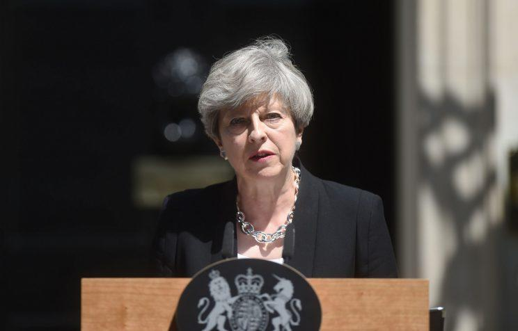 Theresa May condemns the attack outside Downing Street (PA)