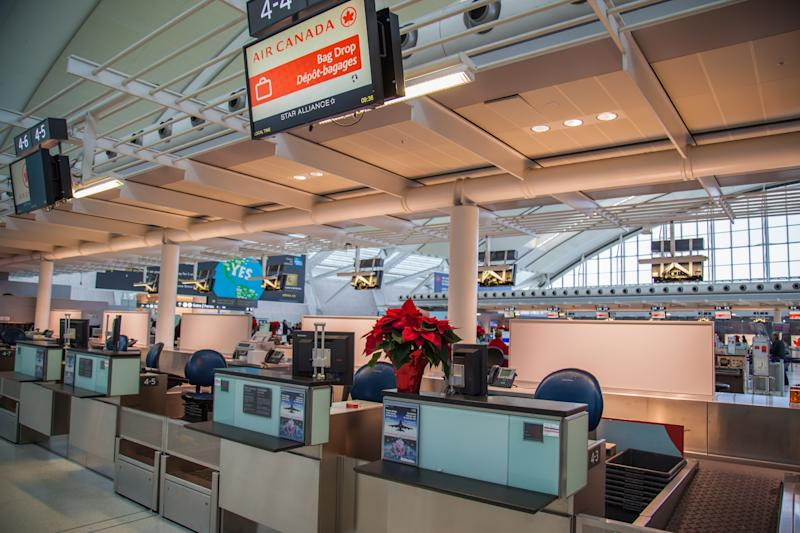 Toronto, Canada - December 11, 2016:Interior view of Toronto Pearson International airport during Christmas season.
