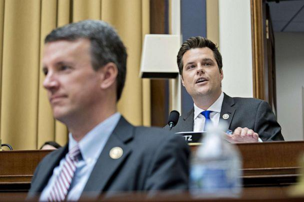 PHOTO: Rep. Matt Gaetz speaks during a House Judiciary Committee markup to vote on holding Attorney General William Barr in contempt of Congress in Washington, May 8, 2019. (Bloomberg via Getty Images)