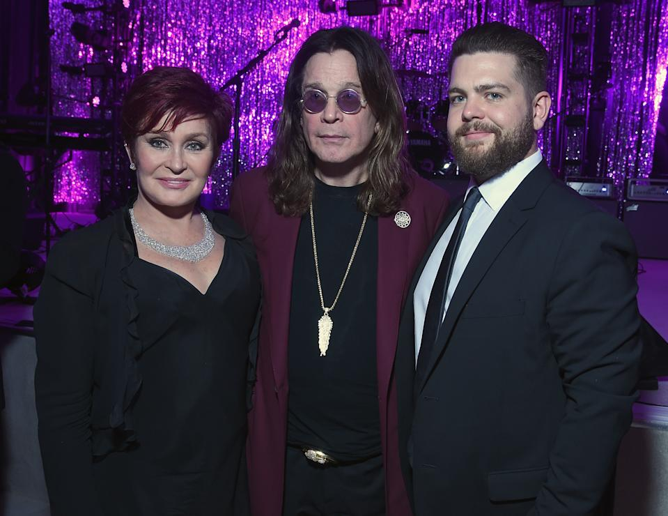 Sharon Osbourne, musician Ozzy Osbourne, and Jack Osbourne attend the 23rd Annual Elton John AIDS Foundation Academy Awards Viewing Party on February 22, 2015 in Los Angeles, California.  (Photo by Dimitrios Kambouris/Getty Images  for EJAF)