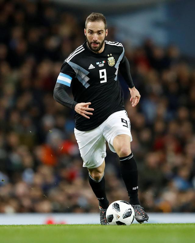 Soccer Football - International Friendly - Italy vs Argentina - Etihad Stadium, Manchester, Britain - March 23, 2018 Argentina's Gonzalo Higuain in action Action Images via Reuters/Carl Recine