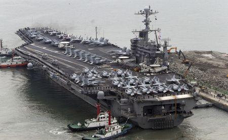 The Nimitz-class aircraft carrier USS John C. Stennis arrives to join the annual Key Resolve military exercise conducted by South Korea and the U.S., at a port in Busan
