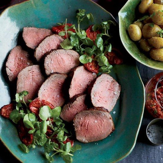 "<p>Naomi Pomeroy's roast beef browns beautifully because she adds sugar to the mustard-seed crust, which helps the meat caramelize. The salsa, made with roasted tomatoes, is a great, healthy sauce, though you can serve the beef with a drizzle of balsamic instead.</p><p><a href=""https://www.foodandwine.com/recipes/roast-beef-with-oven-roasted-tomato-salsa"">GO TO RECIPE</a></p>"