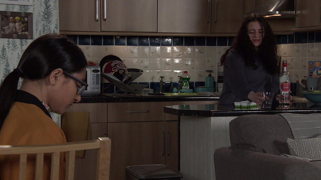 FROM ITV  STRICT EMBARGO  -  No Use Before Tuesday 1st June 2021  Coronation Street - Ep 1034849  Friday 11th June 2021   Attempting to put things right with Summer Spellman [HARRIET BIBBY], Nina Lucas [MOLLIE GALLAGHER] suggests they all have a drink. Clearly drunk, Nina cuts herself but refusing help she heads out leaving Summer and Asha Alahan [TANISHA GOREY] worried.   Picture contact David.crook@itv.com   This photograph is (C) ITV Plc and can only be reproduced for editorial purposes directly in connection with the programme or event mentioned above, or ITV plc. Once made available by ITV plc Picture Desk, this photograph can be reproduced once only up until the transmission [TX] date and no reproduction fee will be charged. Any subsequent usage may incur a fee. This photograph must not be manipulated [excluding basic cropping] in a manner which alters the visual appearance of the person photographed deemed detrimental or inappropriate by ITV plc Picture Desk. This photograph must not be syndicated to any other company, publication or website, or permanently archived, without the express written permission of ITV Picture Desk. Full Terms and conditions are available on  www.itv.com/presscentre/itvpictures/terms