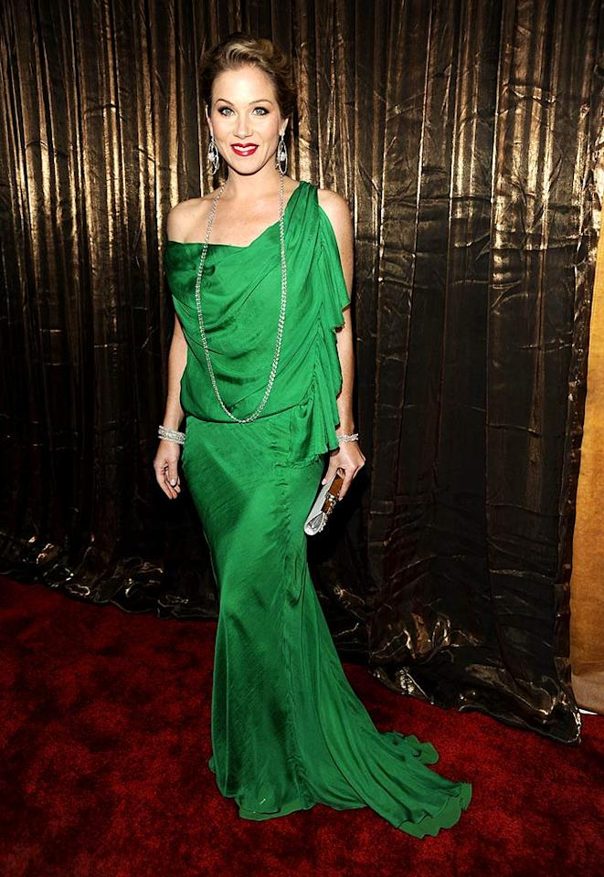 """In celebration of St. Patrick's Day, check out this gallery of stars wearing green. We were green with envy over Christina Applegate's gorgeous Emanual Ungaro goddess gown. Kevin Mazur/<a href=""""http://www.wireimage.com"""" target=""""new"""">WireImage.com</a> - January 25, 2009"""