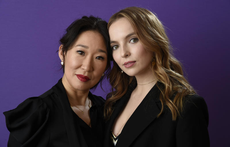 "Sandra Oh, left, and Jodie Comer, cast members in the BBC America series ""Killing Eve,"" pose together for a portrait during the 2018 Television Critics Association Winter Press Tour at the Langham Hotel on Friday, Jan. 12, 2018, in Pasadena, Calif. (Photo by Chris Pizzello/Invision/AP)"