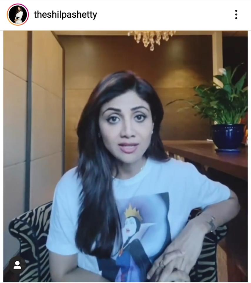Shilpa breathes easy in a white breezy tee featuring a Maleficent graffiti from <em>Sleeping Beauty</em>.
