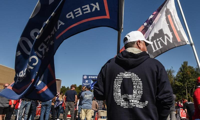 A person wears a QAnon sweatshirt during a pro-Trump rally on Staten Island this month.