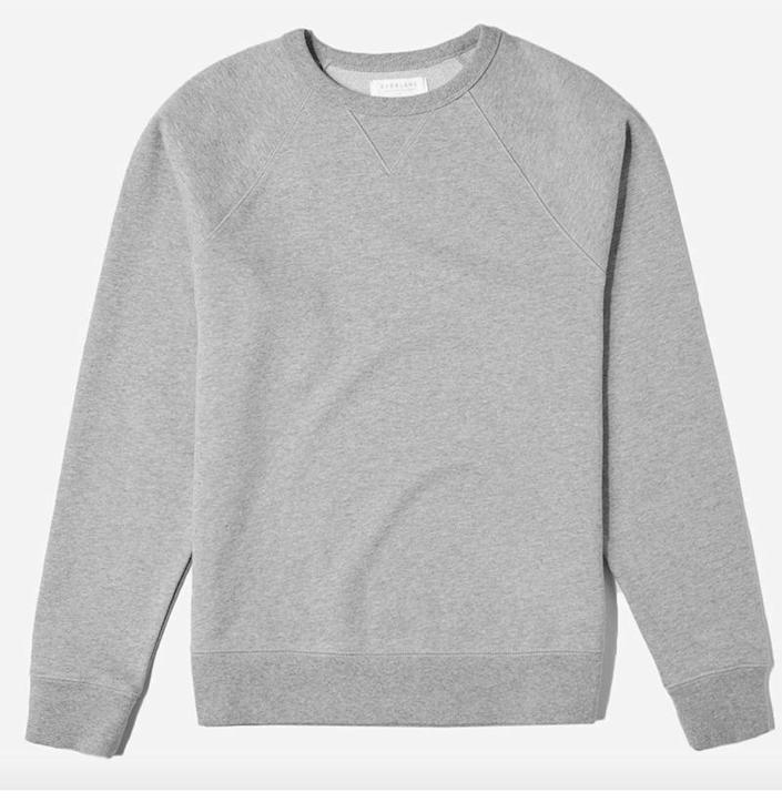 """<p><strong>Everlane</strong></p><p>everlane.com</p><p><strong>$58.00</strong></p><p><a href=""""https://go.redirectingat.com?id=74968X1596630&url=https%3A%2F%2Fwww.everlane.com%2Fproducts%2Fmens-french-terry-crew2-heathergrey&sref=https%3A%2F%2Fwww.esquire.com%2Fstyle%2Fmens-fashion%2Fg33956308%2Fbest-crew-neck-sweatshirts-men%2F"""" rel=""""nofollow noopener"""" target=""""_blank"""" data-ylk=""""slk:Shop Now"""" class=""""link rapid-noclick-resp"""">Shop Now</a></p><p>This thick french terry crewneck sweatshirt built to last the long haul, which is why it is situated permanently in Everlane's stable of styles.</p>"""