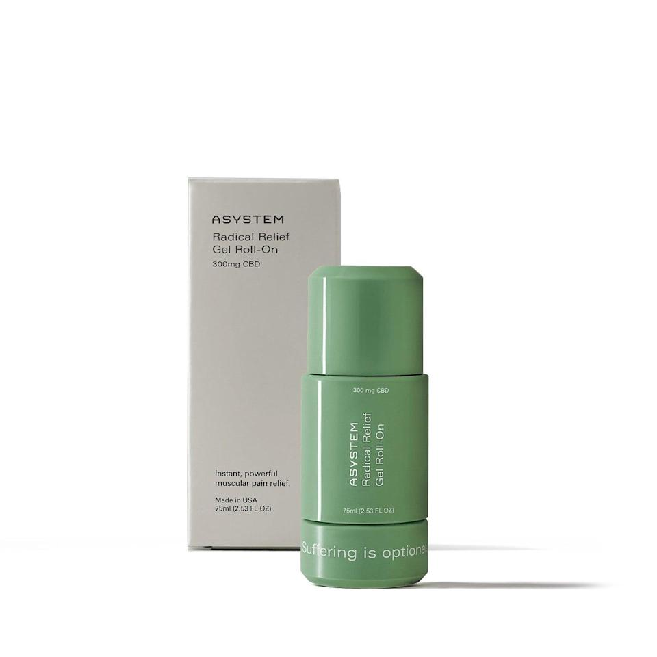 "<h2>Asystem Radical Relief Gel Roll-On</h2> <br>""I've talked about the <a href=""https://slack-redir.net/link?url=https%3A%2F%2Fwww.refinery29.com%2Fen-us%2Fhome-gym-workout-equipment"" rel=""nofollow noopener"" target=""_blank"" data-ylk=""slk:go-to gear"" class=""link rapid-noclick-resp"">go-to gear</a> that's been getting me through my home workouts — but one thing I haven't mentioned is a product that I rely on for soothing sore muscles (after being a little too confident with my ability to complete an advanced HIIT video). While it's not exactly cheap, this roll-on truly is magic for alleviating tight, inflamed muscles with a cooling effect that feels amazing on the skin. It's basically liquid Salonpas, which is a Japanese pain-relieving patch my dad swears by — arigato! In addition to powerful ingredients like menthol and arnica, there's also 300mg of CBD in it — which can also help aid in pain relief."" <em>– Karina Hoshikawa, Beauty Market Writer</em><br><br><em>Shop <strong><a href=""https://www.asystem.com/"" rel=""nofollow noopener"" target=""_blank"" data-ylk=""slk:Asystem"" class=""link rapid-noclick-resp"">Asystem</a></strong></em><br><br><strong>Asystem</strong> Radical Relief Gel Roll-On, $, available at <a href=""https://go.skimresources.com/?id=30283X879131&url=https%3A%2F%2Fwww.asystem.com%2Fproducts%2Fgel-roll-on"" rel=""nofollow noopener"" target=""_blank"" data-ylk=""slk:Asystem"" class=""link rapid-noclick-resp"">Asystem</a><br><br><br>"