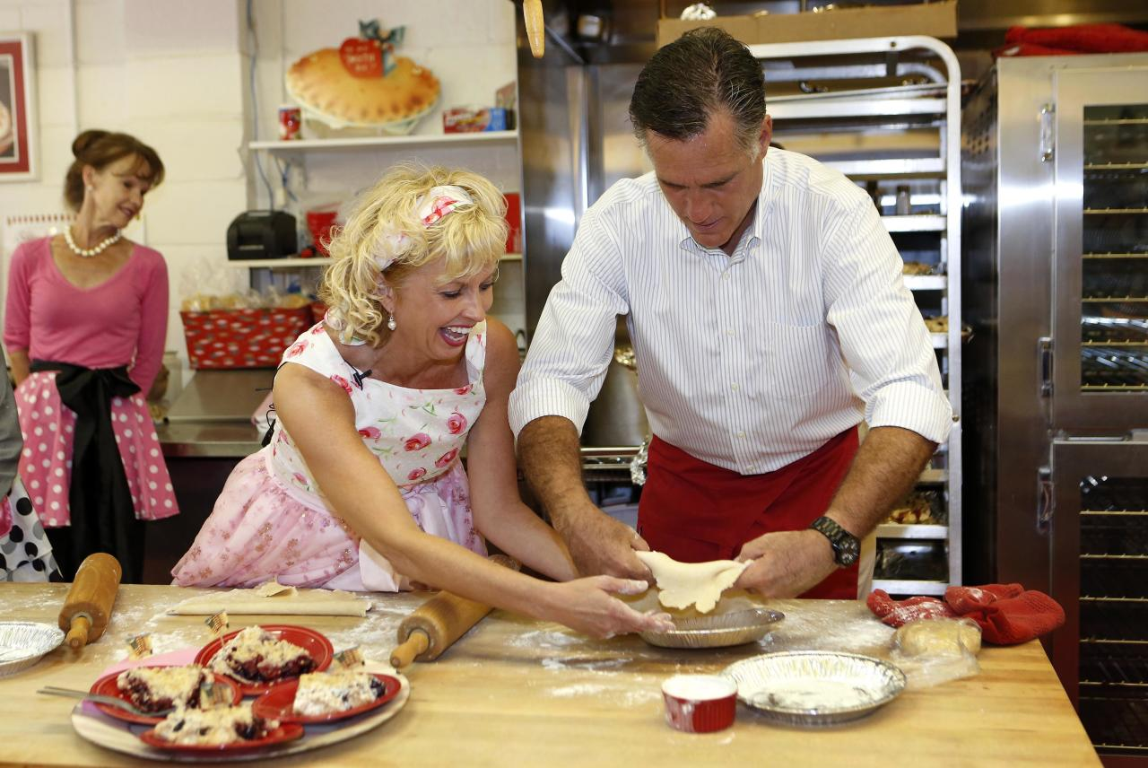 U.S. Republican Presidential candidate Mitt Romney makes a cherry pie with the help of owner Linda Hundt while he visits the Sweetie-licious Bakery Cafe in DeWitt, Michigan, June 19, 2012.    REUTERS/Larry Downing    (UNITED STATES - Tags: POLITICS ELECTIONS)