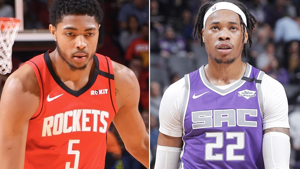 Bruno Caboclo and Richaun Holmes, pictured here in action in the NBA.