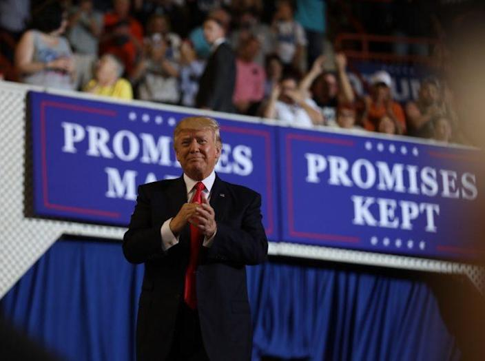 President Trump at his 100-day rally in Harrisburg, Pa.