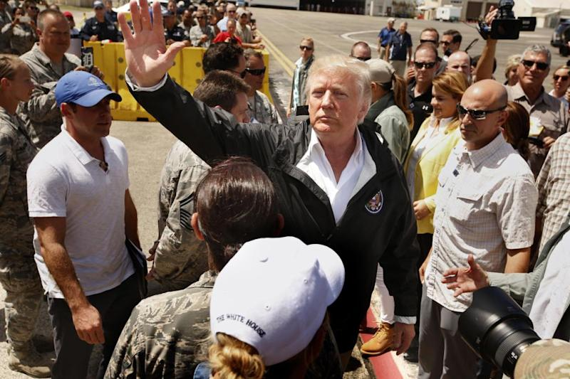 It was the President's first visit to the island since it was devastated by Hurricane Maria. Photo: Getty Images