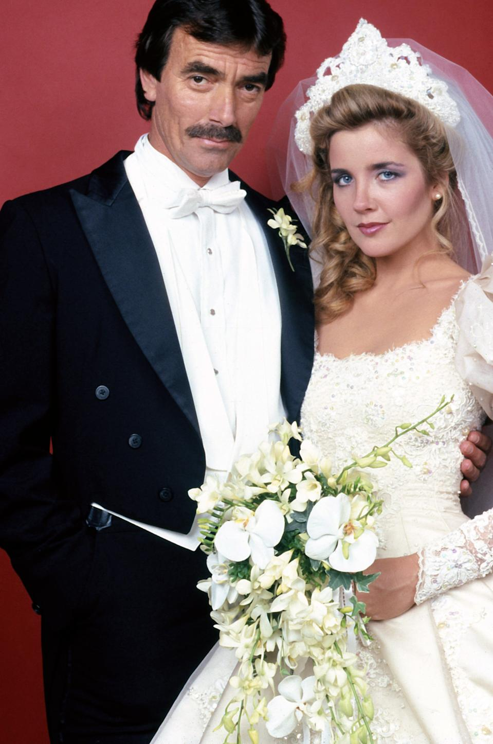 LOS ANGELES -  1992:  The Young And The Restless actors Eric Braeden and Melody Thomas pose for a portrait in 1992 in Los Angeles, California. (Photo by Donaldson Collection/Michael Ochs Archives/Getty Images)