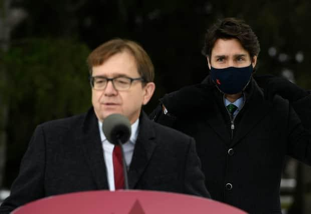 Environment and Climate Change Minister Jonathan Wilkinson, left, said Monday the Conservatives need to table a credible plan to reduce greenhouse gas emissions.