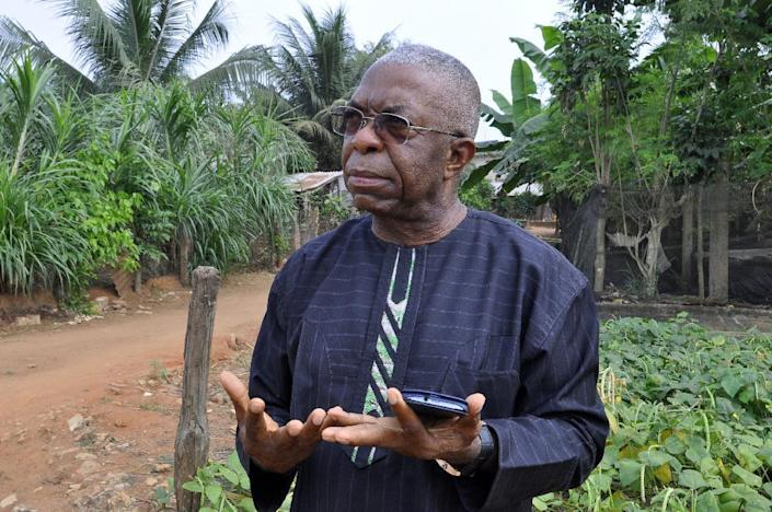 Father Godfrey Nzamujo, director of the Centre Songhai, speaks on the farm in Porto Novo, Benin, on January 30, 2014 (AFP Photo/Charles Placide Tossou)