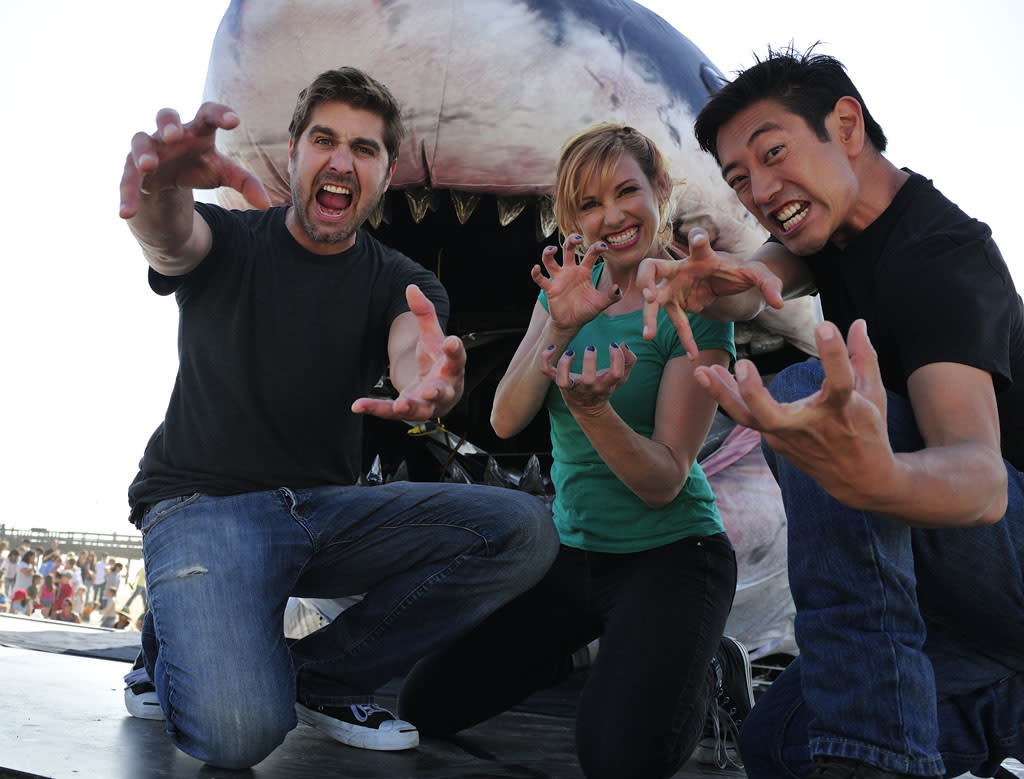 """The MythBusters team -- Kari Byron, Grant Imahara and Tory Belleci -- test a lifesize Megalodon model, dubbed """"Sharkzilla"""" and created by Jim Shartis, to see how strong the massive shark's jaws would have been. Sharkzilla"""