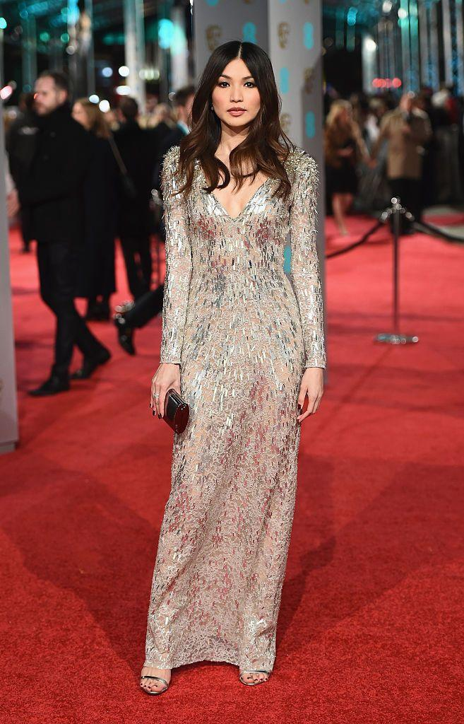 <p>Chan looked awards show worthy in a long-sleeved Jenny Packham gown for the biggest night in British film. </p>
