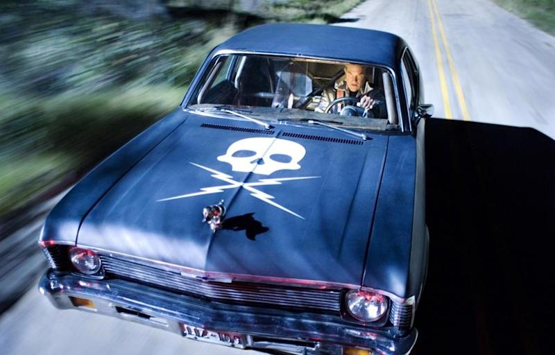Kurt Russell in Stuntman Mike's 'Death Proof' car (credit: Dimension Films/TWC)