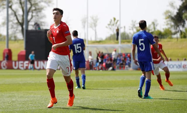 Soccer Football - UEFA European Under-17 Championship - Group A - Switzerland v Israel - St George's Park Stadium, Burton Upon Trent, Britain - May 7, 2018 Switzerland's Tician Tushi celebrates scoring their third goal Action Images via Reuters/Carl Recine