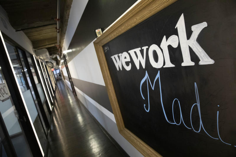 A WeWork office space is shown, Tuesday, Nov. 5, 2019 in New York. (AP Photo/Mark Lennihan)