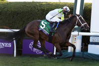 Jockey Florent Geroux, aboard Aunt Pearl, reacts as they win the Breeders' Cup Juvenile Fillies Turf horse race at Keeneland Race Course, Friday, Nov. 6, 2020, in Lexington, Ky. (AP Photo/Michael Conroy)