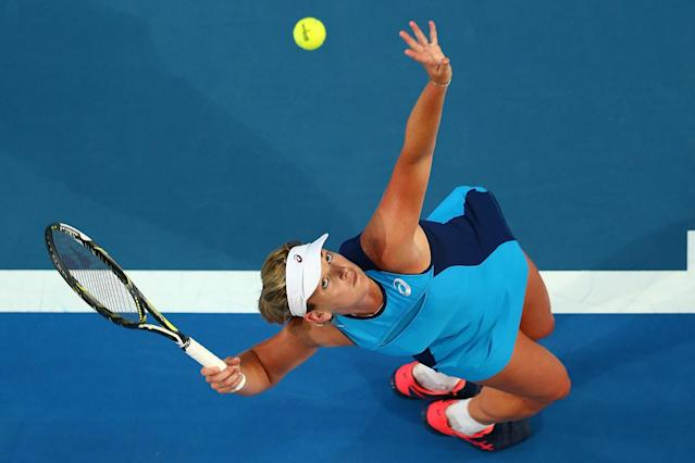 CoCo Vandeweghe servingto Kristina Mladenovic of France in the women's singles match during the 2017 Hopman Cup Final at Perth Arena in Australia in January. (Photo: Paul Kane/Getty Images)