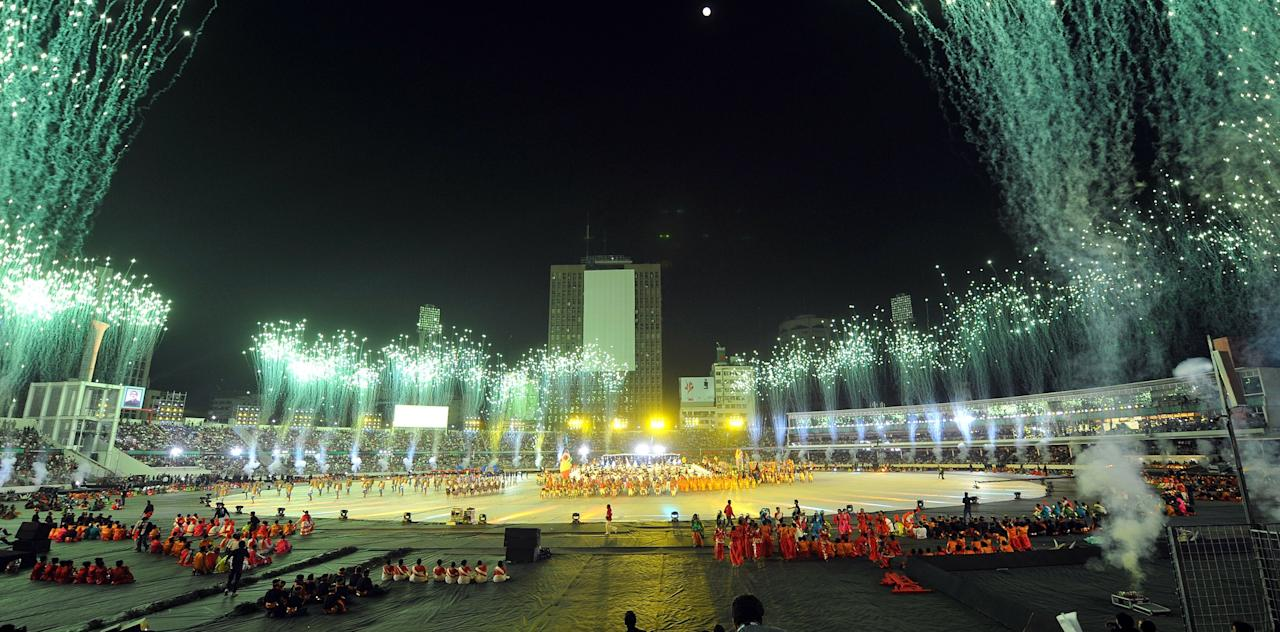 Fireworks light up the sky during the opening ceremony of the Cricket World Cup at Bangabandhu stadium in Dhaka on February 17, 2011. (PRAKASH SINGH/AFP/Getty Images)