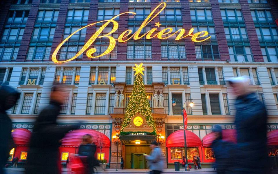 <p>The urban home of Santa Claus, Macy's department store kicks off the holiday season in New York City with the Thanksgiving Day Parade. Whether you prefer the 1947 classic with Natalie Wood, Maureen O'Hara, and Edmund Gwenn, or the more recent 1994 classic with Mara Wilson, Elizabeth Perkins, Richard Attenborough, there's nothing more Christmas in New York City than windowshopping and a visit — up a wooden escalator — to Santa at Macy's.</p>