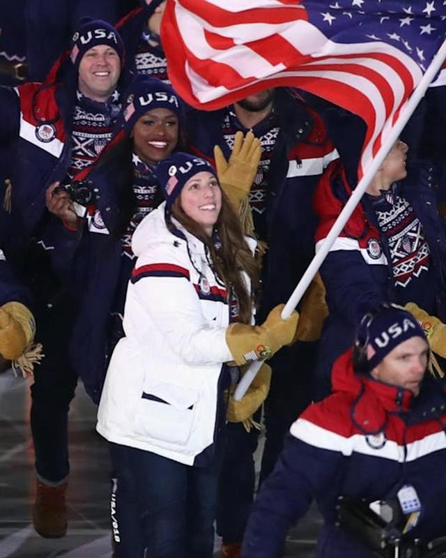 <p>Aja Evans USA, bobsled: Opening Ceremony continues to be the most breathtaking experience of my life! Tune in now on @nbc to watch! ❤️(Photo via Instagram/ajalevans) </p>