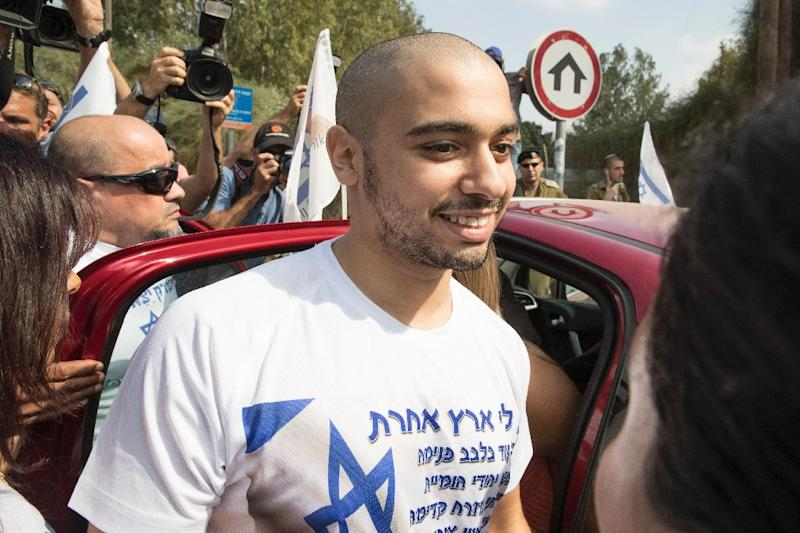 Israeli soldier Elor Azaria, who was convicted of manslaughter for shooting dead a prone Palestinian assailant, arrives at the Tserifin military base to begin his 18-month prison sentence on August 9, 2017 (AFP Photo/JACK GUEZ)