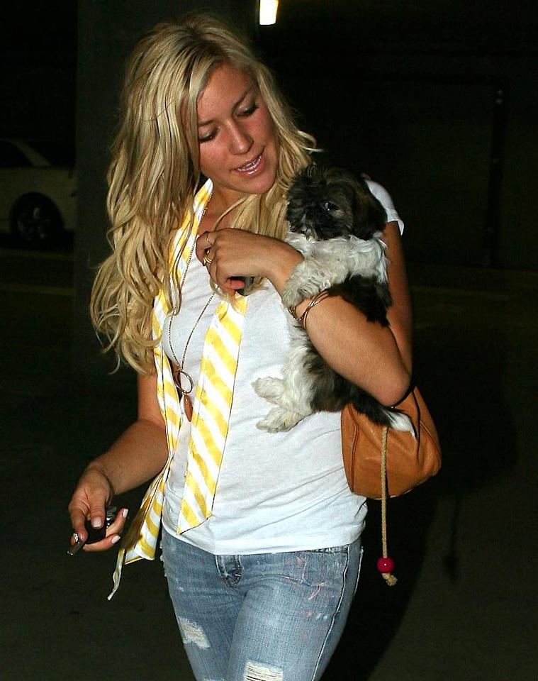 "Kristin Cavallari and her puppy check out the scene in Beverly Hills, CA. <a href=""http://www.x17online.com"" target=""new"">X17 Online</a> - August 15, 2006"