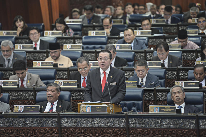 Finance Minister Lim Guan Eng tables Budget 2020 in Parliament October 11, 2019.― Picture by Shafwan Zaidon