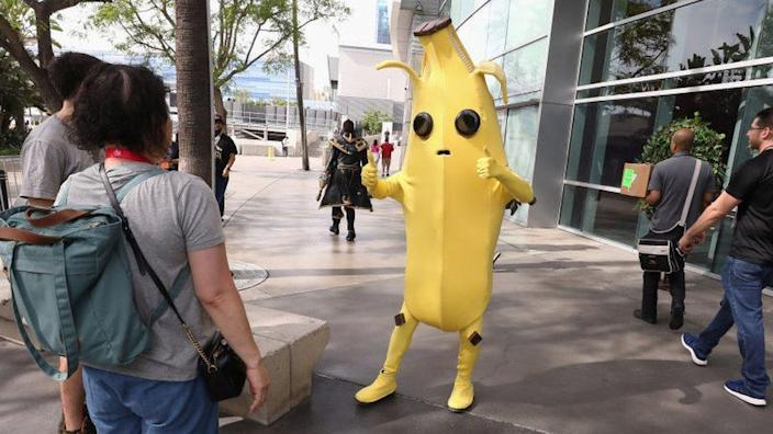 An actor in a banana suit outside E3 2019