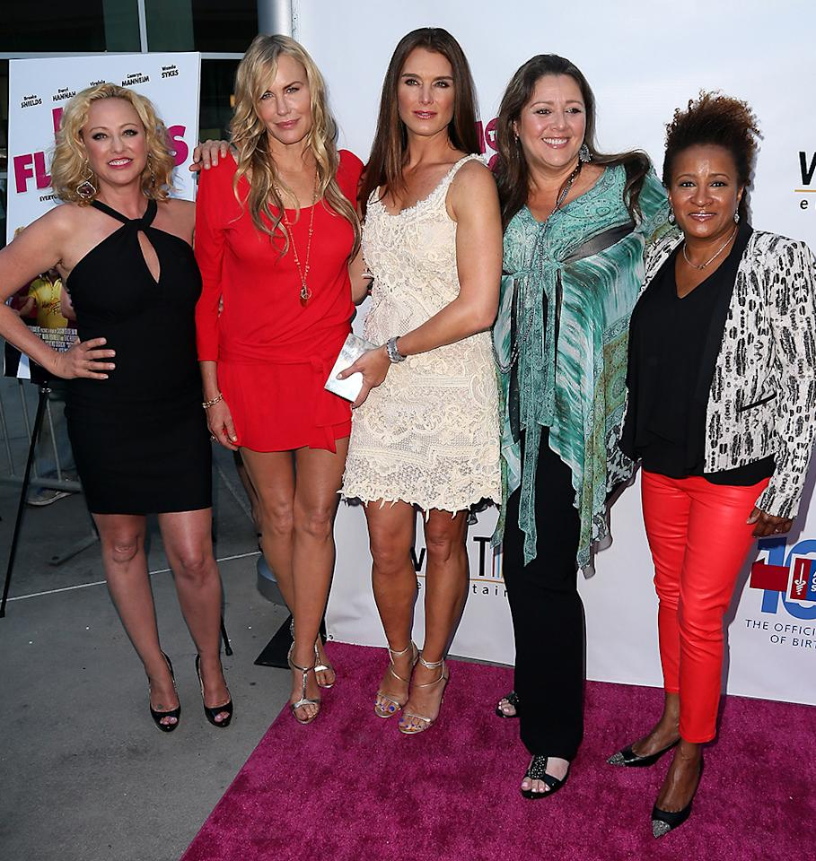 "HOLLYWOOD, CA - JUNE 27:  (L-R) Actresses Virginia Madsen, Daryl Hannah, Brooke Shields, Camryn Manheim and Wanda Sykes attend the premiere of ""The Hot Flashes"" at ArcLight Cinemas on June 27, 2013 in Hollywood, California.  (Photo by David Livingston/Getty Images)"