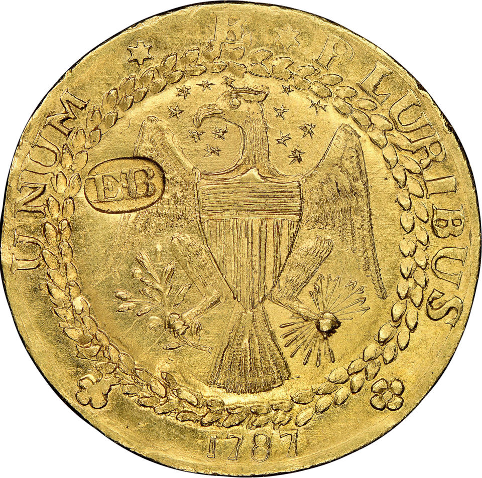 This undated photo provided by Heritage Auctions shows a rare gold coin made by a noted craftsman in New York in 1787 that has sold at auction in Dallas for $9.36 million. Heritage Auctions offered the New York-style Brasher Doubloon Thursday, Jan. 21, 2021, as part of an auction of U.S. coins. Heritage says the sale is the most ever paid for a gold coin at auction. (Heritage Auctions via AP)