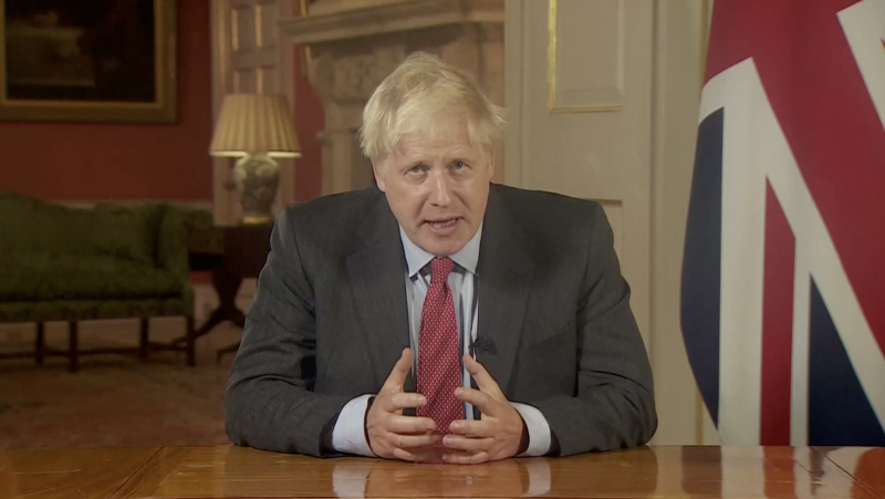 Boris Johnson during his televised address to the nation on Tuesday.