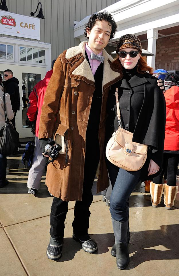Geoffrey Arend and Christina Hendricks are seen out and about during the 2012 Sundance Film Festival in Park City, Utah on January 22, 2012.