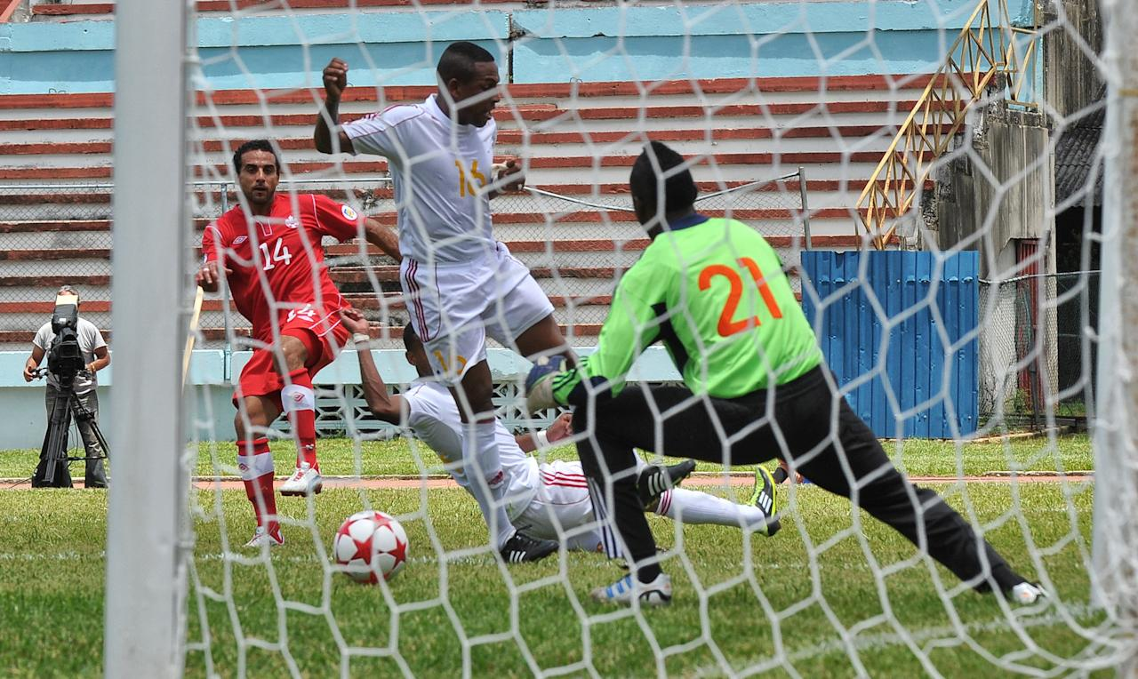Canadian Dwayne De Rosario (L) kicks the ball during the FIFA World Cup Brazil 2014 CONCACAF qualifier match against Cuba at the Pedro Marrero stadium in Havana on June 8, 2012. Canada won 1-0. AFP PHOTO/ADALBERTO ROQUEADALBERTO ROQUE/AFP/GettyImages