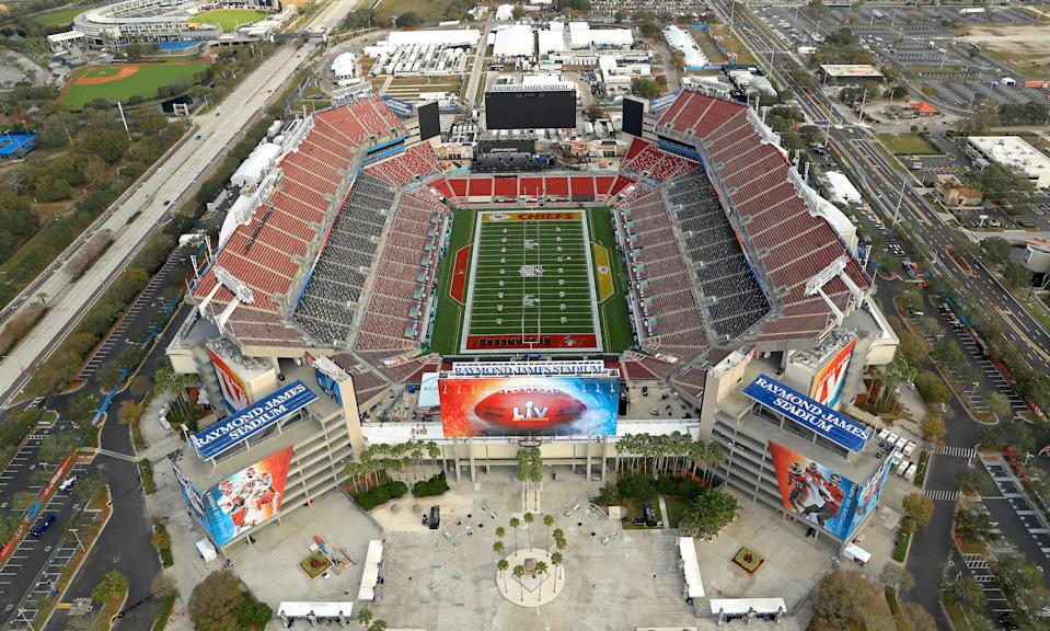 TAMPA, FLORIDA - JANUARY 31: An aerial view of Raymond James Stadium ahead of Super Bowl LV on January 31, 2021 in Tampa, Florida. (Photo by Mike Ehrmann/Getty Images)