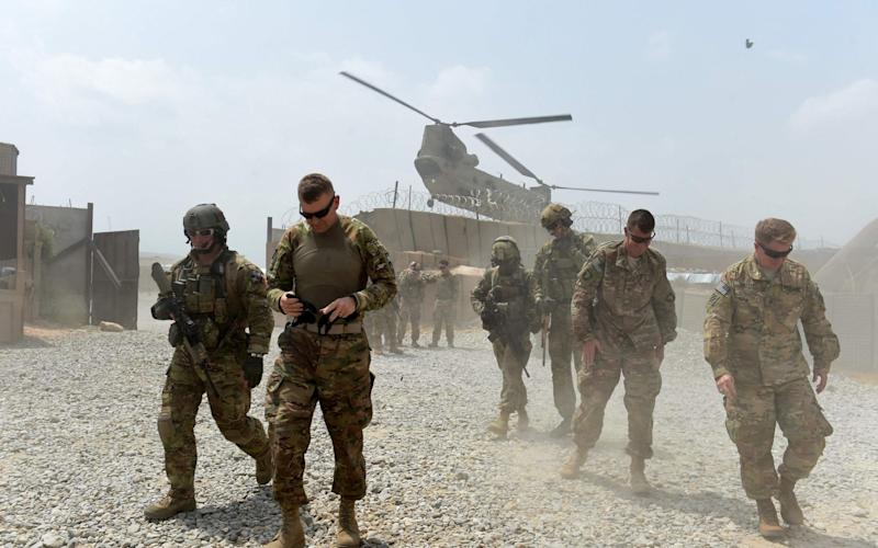 US army soldiers at coalition force Forward Operating Base (FOB) Connelly in the Khogyani district in the eastern province of Nangarhar - AFP