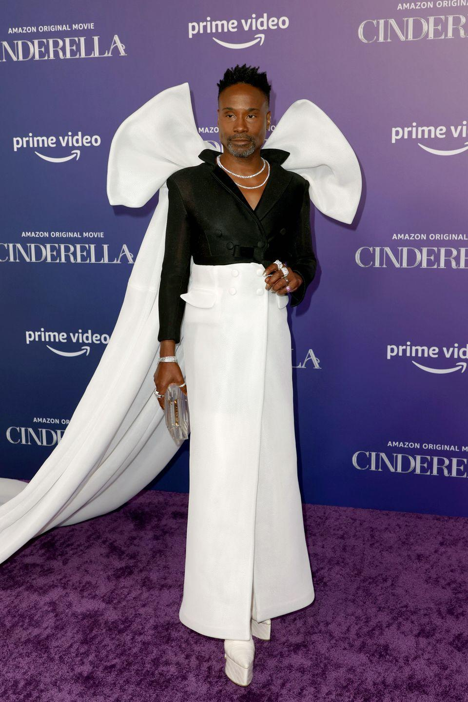 <p>The actor stunned in a Ben Chellal coat gown, featuring a large white bow at the back, teamed with H. Crowne jewellery, a L'afshar clutch bag and Harry Halim shoes. </p>
